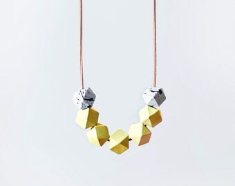 Geometric Necklace / Yellow Necklace / Wooden necklace