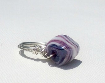 Purple and White Swirl Lamp Work Bead Silver Plated Ring, Made To Order