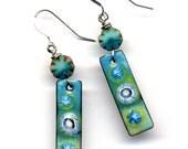 Blue Green Enamel Earrings, Sterling Enamel Earrings, Sterling Silver Earrings, Blue Green Earrings, 925 Earring, Turquoise Cooper Earrings