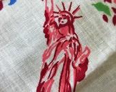 Vintage Handkerchief, New York City Handkerchief, New York Souvenir Printed Handkerchief, NY Hankie, Statue of Liberty Geo Washington Bridge