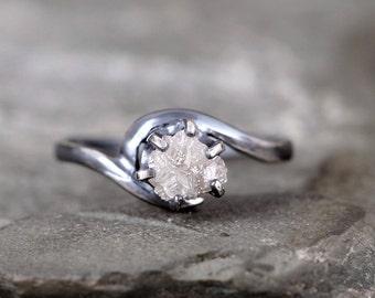 Raw Diamond Ring - Uncut Rough Diamond Gemstone - Diamond Engagement Rings - Conflict Free - Raw Gemstone - April Birthstone - Promise Ring