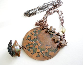 Copper Etched Floral Bird Charm Necklace, Rustic, Woodland Style Jewelry