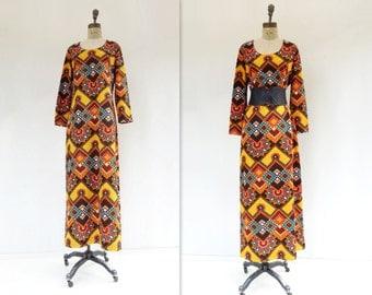 1970s Caftan Dress Vintage Maxi Dress Moroccan Tile Caftan 70s Boho Maxi Dress Turmeric Teal Dress 70s Bohemian Dress 1970s Maxi Dress L