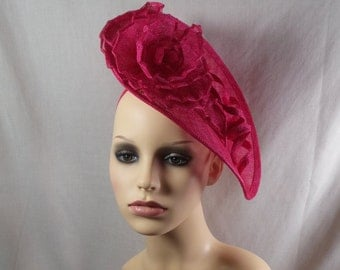 Fushia pink hatinator. SUMMER SALE Wedding hat-Races hat-Special occasion hat. Can be made in other colours.