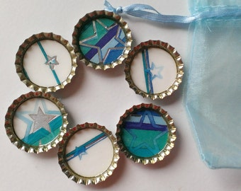 Star Bottlecap Magnets- Blue, White, Silver, Green- Set of 6