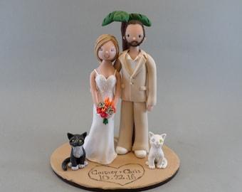 Bride & Groom with Cats Custom Made Outdoor/ Beach Theme Wedding Cake Topper