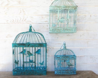 Bird Cage, Aqua Home Decor, Anthropologie Style, French Style Decor, Rustic Home Decor