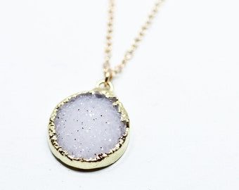 Druzy necklace - druzy jewelry - dainty gold necklace - delicate gold jewelry - round druzy necklace - round gemstone jewelry - gift for her