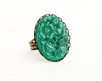 Emerald Ring Large Vintage Carved Jade Green Glass Ring Green Cabochon Ring Adjustable Ring Emerald Green Jewelry