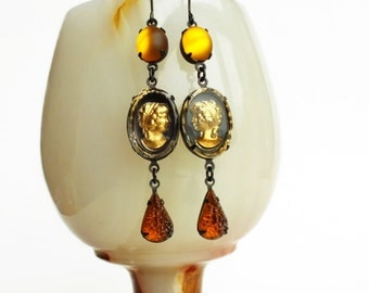 Gold Glass Cameo Earrings Vintage Victorian Gold Crystal Portrait Cameo Earrings Topaz Amber Victorian Fall Autumn Jewelry