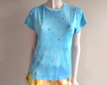SMILEY FACE Hand Painted T-shirt size small