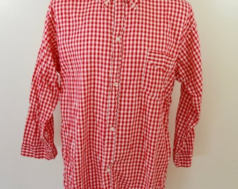 last chance Vintage PLEETWAY Shavetail long sleeve shirt GINGHAM Check USA made cotton xl