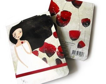 Small Notebook with elastic closure - Les Coquelicots - 60 blank sheets