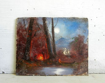 Vintage Painting on Board | Rustic Camping Painting | Full Moon | River Canoe Campfire