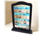 Earring holder,Earring rack,jewelry storage   jewelry holder, earring organizer display TEAL wood with stand