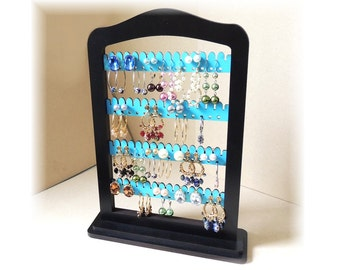 Earring holder, EARRING RACK,jewelry storage   jewelry holder, earring organizer display TEAL wood with stand