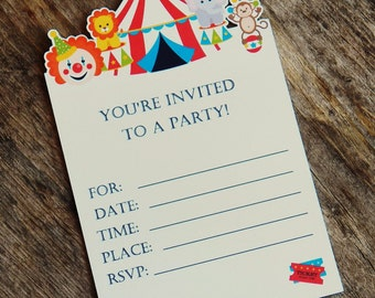 Big Top Circus Party - Set of 8 Circus Invitations by The Birthday House