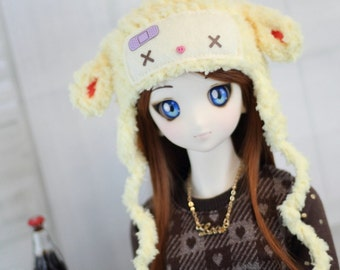 """BJD Hat Yellow Fairy Kei Lamb for SD, 1/3 Doll, Sheep Hat - Size 8-9"""" Ball Jointed Doll Clothes - Dollfie Dream Accessories"""