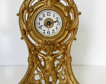 Victorian Cast Iron Clock Cherub Cupid Gold Clock Antique Wind up Boudoir Mantle Clock Vintage 1906