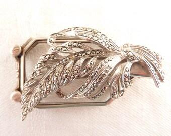 Antique Deco .835 German Silver and Marcasite Lorgnette Dress Clip