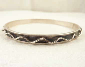 Vintage Mexican Sterling Bangle with Three Dimensional Rope Bracelet