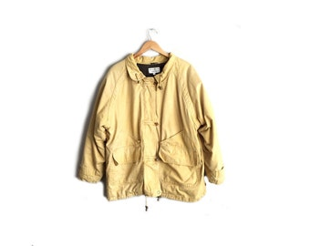 Vintage '90s Mustard Yellow Canvas Field Jacket - Toggle Buttons - Minimalist Outerwear. Size L and Up.
