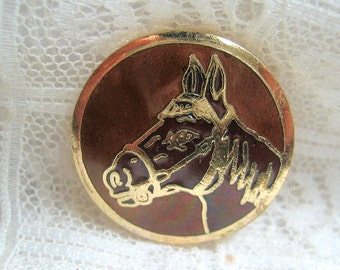Enamel Button with Horse Head Medium Size