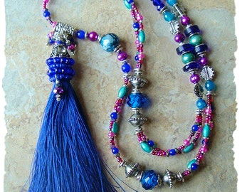 Tassel Necklace, Long Colorful Beaded Tassel Necklace, Blue and Purple, Bohemian Jewelry, Boho Style Me, Kaye Kraus