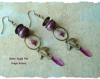 Fairy Garden Lanterns, Assemblage Earrings, Handmade Assemblage, Bohemian jewelry, BohoStyleMe, Kaye Kraus
