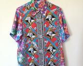 Colorful Fuschia Abstract Portrait Top Blouse Shirt Medium 90s