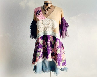 Plus Size Clothes Prairie Blouse Purple Floral Country Vintage Shabby Chic Tunic Romantic Clothing Lace Sleeves Boho Fashion 1X 2X 'NIKKI'