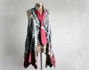 Women's Plus Size Long Gray Tunic Recycle Necktie Unique Art Clothing Bohemian Chic Layered Boho Shirt Lagenlook Top Artsy Style 1X 2X 'MACY