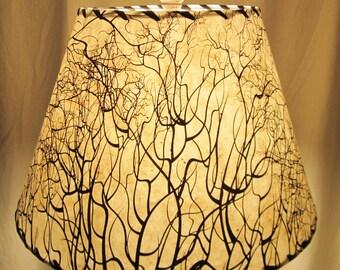 Tree Root Silkscreened Paper Lamp Shade, Custom Lamp Shade, Nepalese Paper Lampshade, Lokta Paper, Washer Top Lamp Shade, Black and White