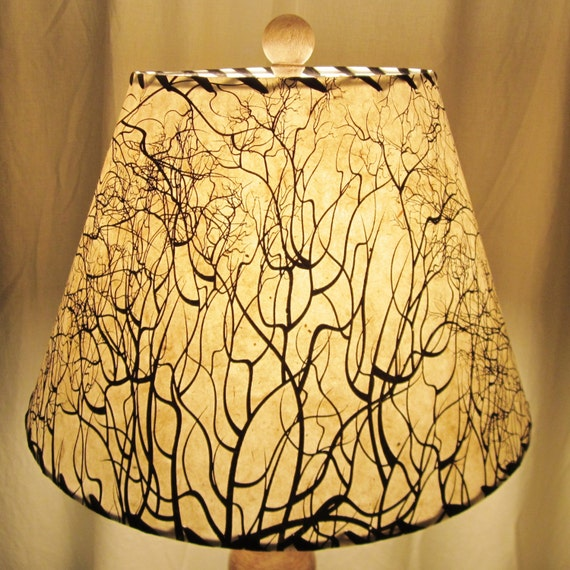 Custom Lamp Shade: Tree Root Silkscreened Paper Lamp Shade, Custom Lamp Shade, Nepalese Paper  Lampshade, Lokta,Lighting