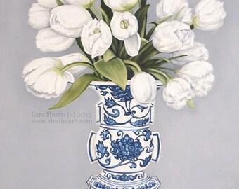 Exuberant Tulips in Ming Vase . . . . . . . . .5x7 Fine Art Giclee Print by LARA Ginger Jar