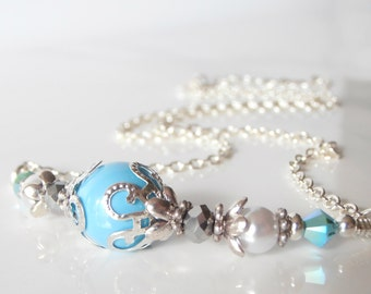 Weddings Jewelry Bridesmaids Necklaces Swarovski Pearl Necklace Turquoise Blue Necklace  Pearl and Crystal Bridesmaid Jewelry Gift Handmade