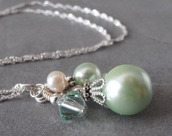 Mint Green Bead Cluster Necklace Beaded Mint Bridesmaid Necklace Pastel Weddings Spring Bridal Jewelry Set  Bridesmaid Gift Pearl Cluster