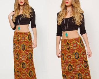 Vintage 70s BOHO Skirt Red FLORAL Print GYPSY Skirt Vintage Maxi Skirt Paisley Hippie Skirt