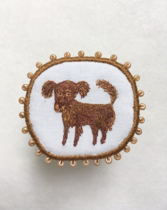 "Textile Dog Brooch ""Cappuccino"" -  Funny Dogs - collection, hand embroidered textile jewelry, pet portrait brooch."