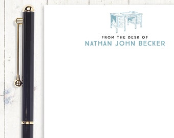 personalized notePAD- FROM the DESK of VINTAGE - stationery - stationary - mens notepad - letter writing paper