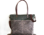 Waxed Canvas Tote in Olive Green and Oak Brown with Exterior Pockets