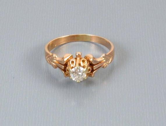 Antique Edwardian 14k rose gold .28 ct European cut diamond bridal wedding solitaire engagement ring size 6