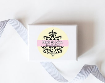 Filigree Wedding Favor Stickers  - Custom Labels // Elegant Classic Wedding