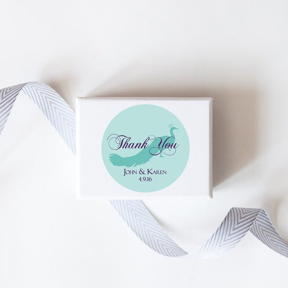 Peacock Wedding Favor Stickers - Custom Labels // Thank You Stickers