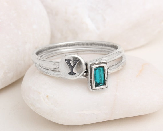 initial and birthstone rings in sterling silver stackable