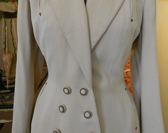 "1940's, 37"" bust, light tan wool crepe jacket."