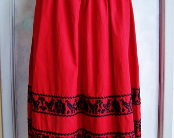 Embroidered Skirt, Red Skirt, Ethnic Skirt, Red and Black Skirt, Red Cotton skirt, size M / L