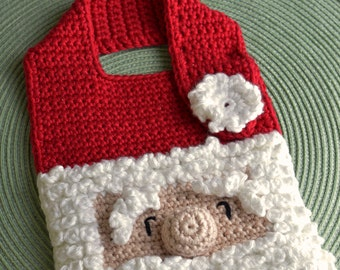 Crochet pattern Santa Baby Bib Drool Bib Spit Bib Burp Bib Food Bib for Christmas babies and toddlers shower gift INSTANT pdf DOWNLOAD