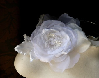 White Silk Rose Velvet & Organdy Millinery Rose for Bridal, Sashes, Hats, Corsages, MF101
