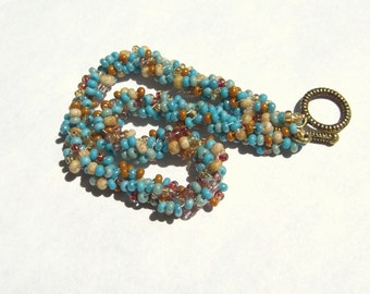 Turquoise and Gold Glass Spiral Rope Bracelet
